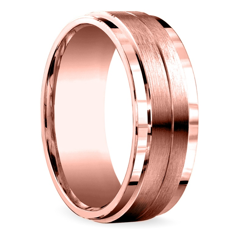 Beveled Satin Men's Wedding Ring in Rose Gold | 02