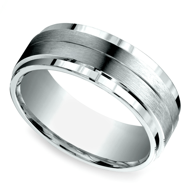 Beveled Satin Men's Wedding Ring in White Gold | 01