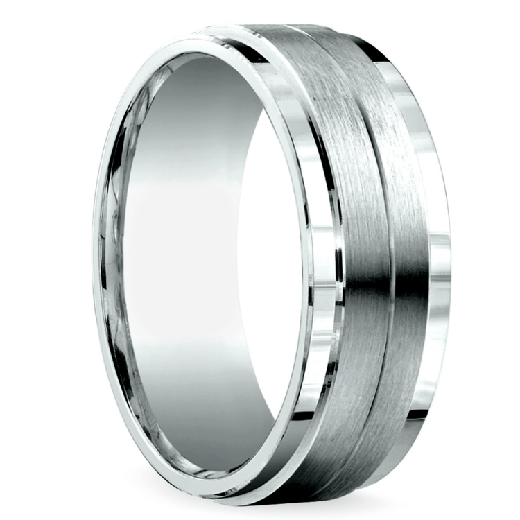 Beveled Satin Men's Wedding Ring in White Gold | 02