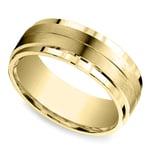 Beveled Satin Men's Wedding Ring in Yellow Gold | Thumbnail 01