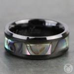 Aurora - Beveled Black Ceramic Mens Band with Shell Inlay | Thumbnail 04