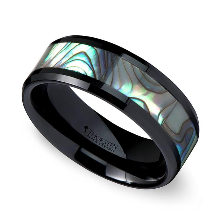 Aurora - Beveled Black Ceramic Mens Band with Shell Inlay | 01