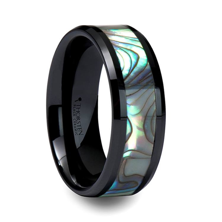 Aurora - Beveled Black Ceramic Mens Band with Shell Inlay | 02