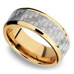 Beveled Silver Carbon Fiber Inlay Men's Wedding Ring in 14K Yellow Gold | Thumbnail 01
