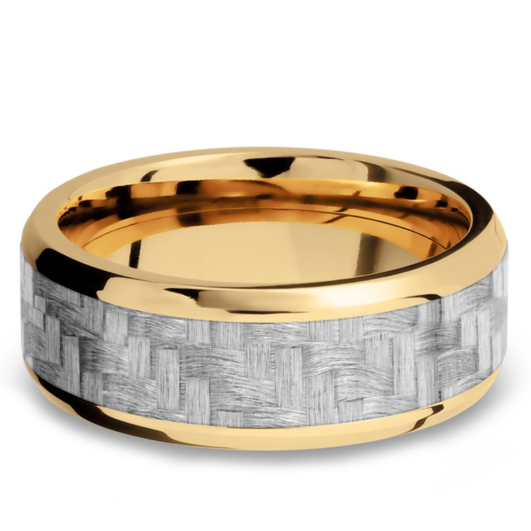 Beveled Silver Carbon Fiber Inlay Men's Wedding Ring in 14K Yellow Gold | 03