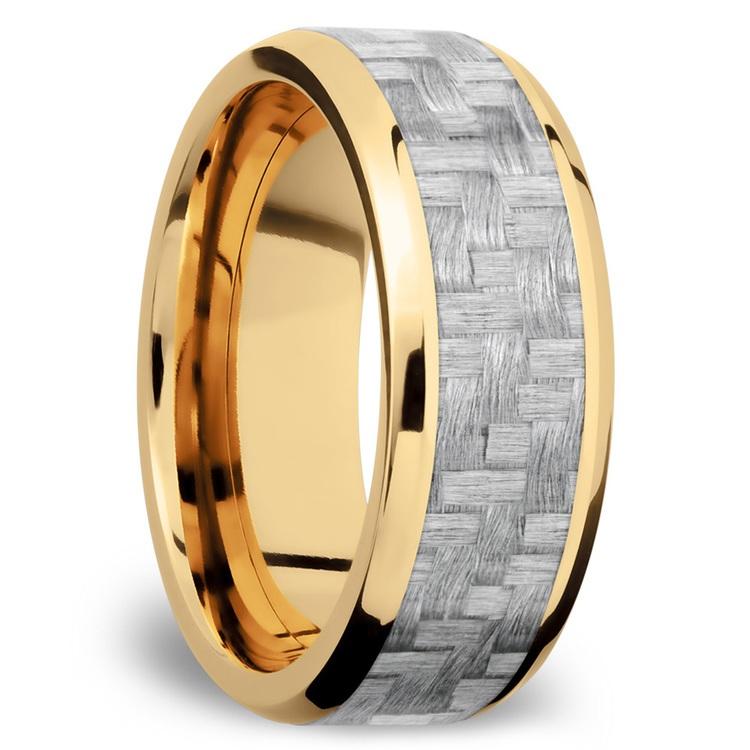 Beveled Silver Carbon Fiber Inlay Men's Wedding Ring in 14K Yellow Gold | 02