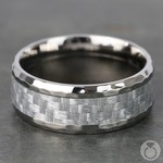 Beveled Silver Carbon Fiber Inlay Men's Wedding Ring in Hammered Titanium | Thumbnail 04