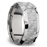 Beveled Silver Carbon Fiber Inlay Men's Wedding Ring in Hammered Titanium | Thumbnail 02