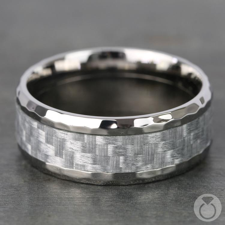 Beveled Silver Carbon Fiber Inlay Men's Wedding Ring in Hammered Titanium | 04