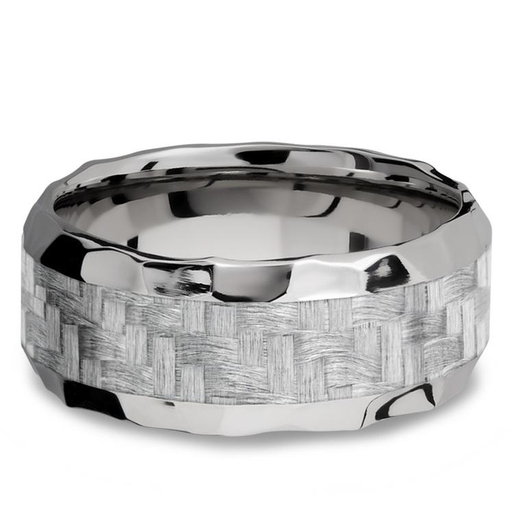 Beveled Silver Carbon Fiber Inlay Men's Wedding Ring in Hammered Titanium | 03