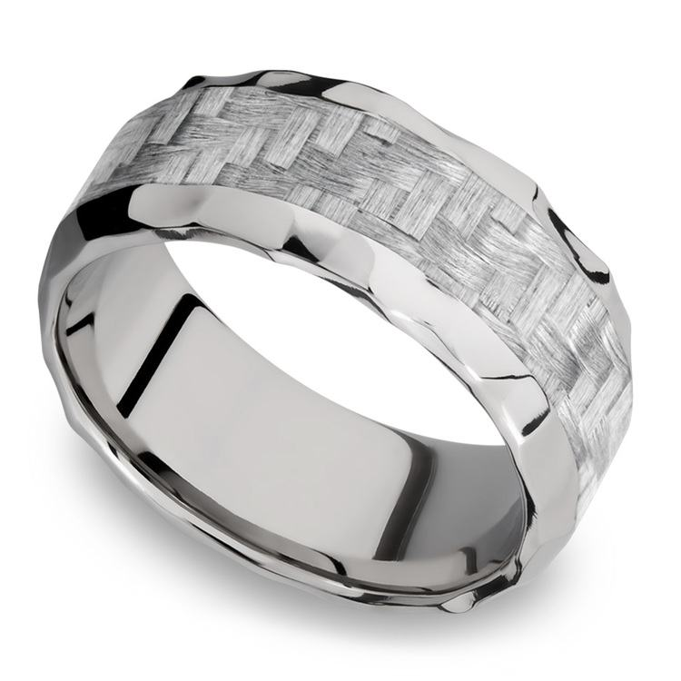 Beveled Silver Carbon Fiber Inlay Men's Wedding Ring in Hammered Titanium | 01