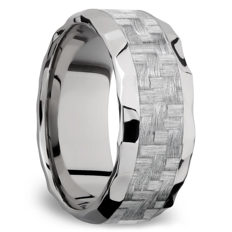 Beveled Silver Carbon Fiber Inlay Men's Wedding Ring in Hammered Titanium | 02