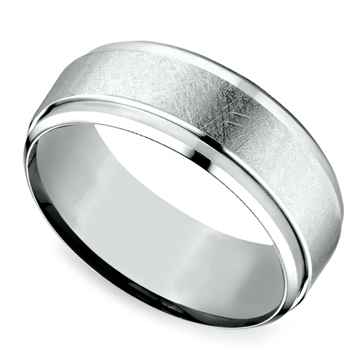 Beveled Swirl Men's Wedding Ring in Palladium | 01