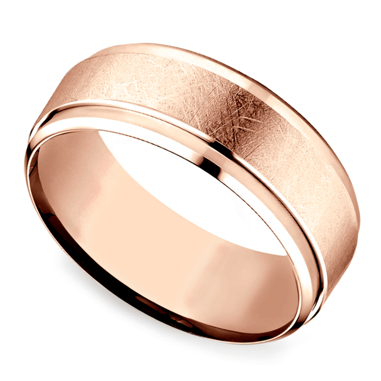 Beveled Swirl Men's Wedding Ring in Rose Gold | 01