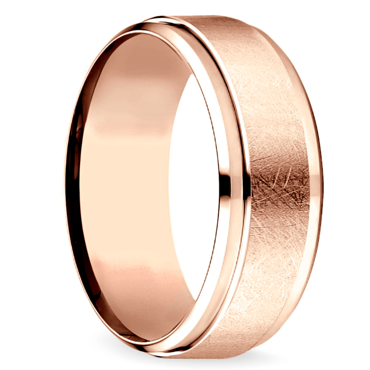 Beveled Swirl Men's Wedding Ring in Rose Gold | 02