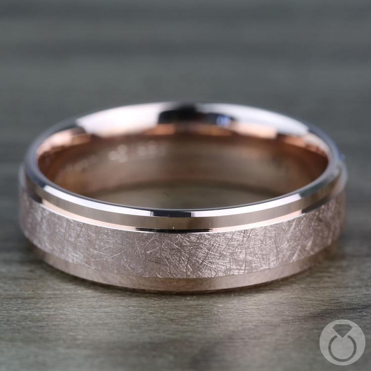 Beveled Swirl Men's Wedding Ring in Rose Gold | 03