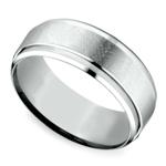 Beveled Swirl Men's Wedding Ring in White Gold | Thumbnail 01