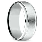 Beveled Swirl Men's Wedding Ring in White Gold | Thumbnail 02