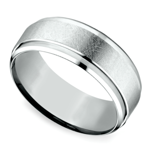 Beveled Swirl Men's Wedding Ring in White Gold