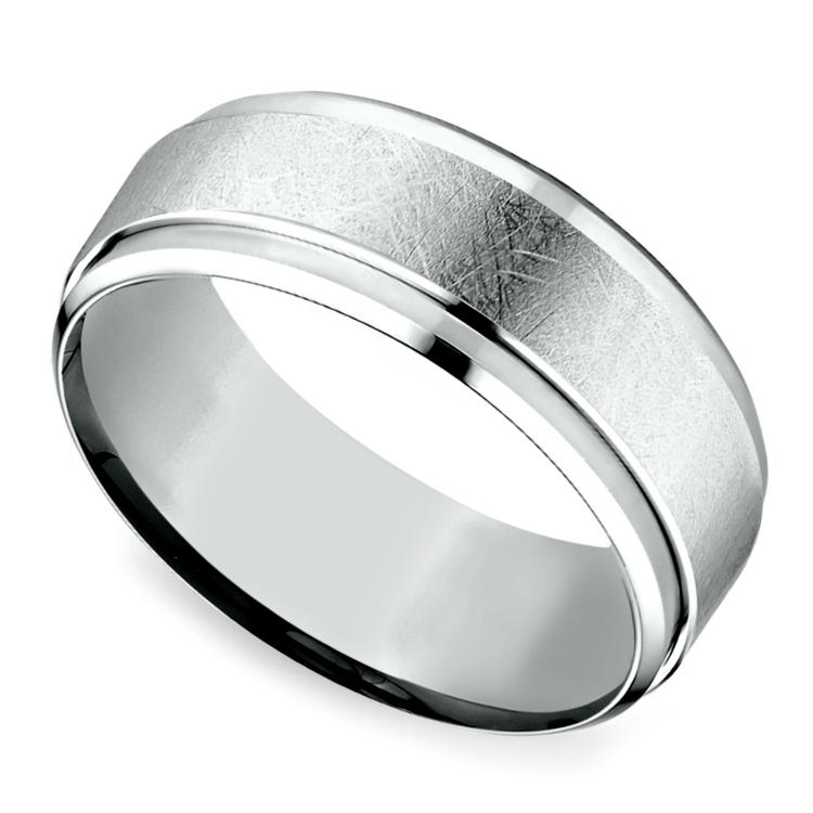 Beveled Swirl Men's Wedding Ring in White Gold | 01