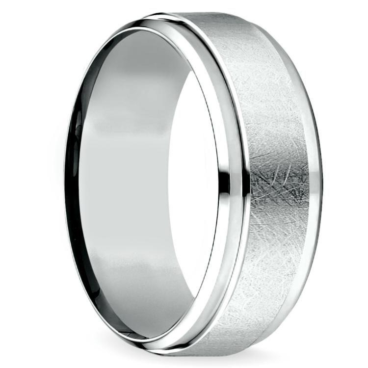 Beveled Swirl Men's Wedding Ring in White Gold | 02