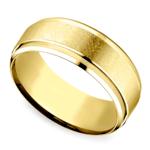 Beveled Swirl Men's Wedding Ring in Yellow Gold | Thumbnail 01