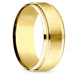 Beveled Swirl Men's Wedding Ring in Yellow Gold | Thumbnail 02