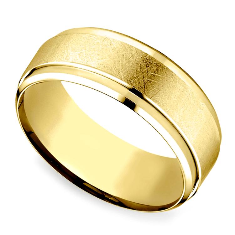 Beveled Swirl Men's Wedding Ring in Yellow Gold | 01