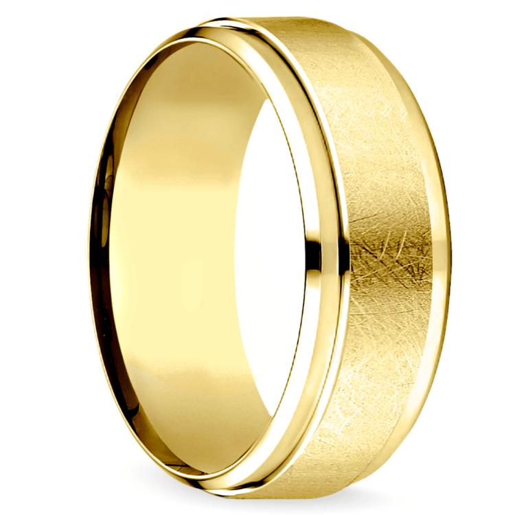 Beveled Swirl Men's Wedding Ring in Yellow Gold | 02
