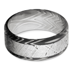 Pulsar - Beveled Zebra Damascus Steel & Meteorite Mens Band | Thumbnail 03