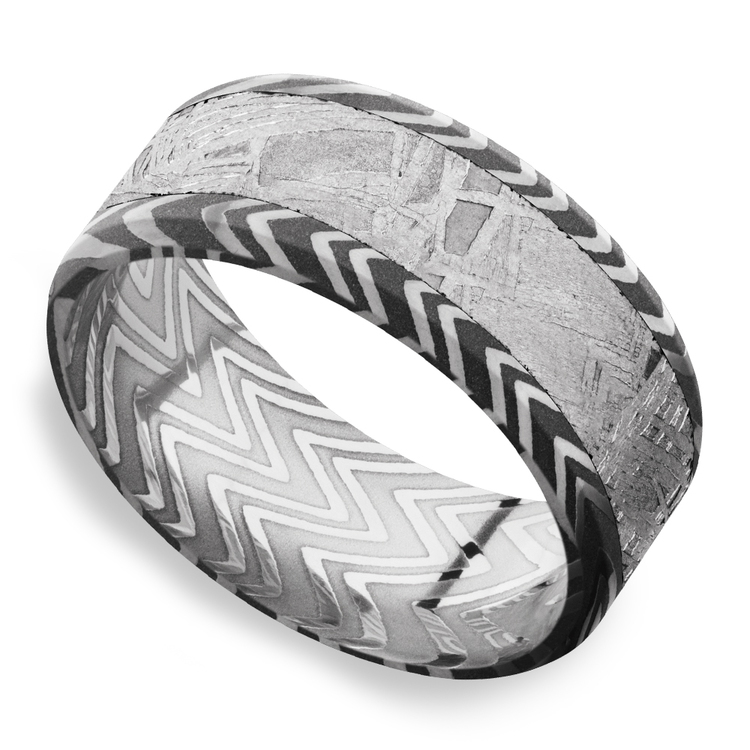 Pulsar - Beveled Zebra Damascus Steel & Meteorite Mens Band | 01
