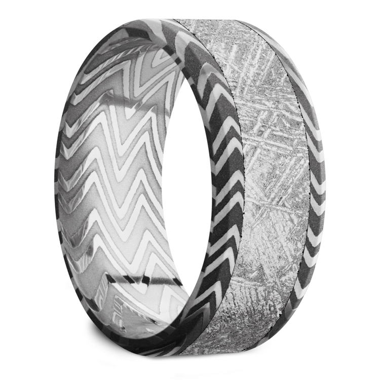 Pulsar - Beveled Zebra Damascus Steel & Meteorite Mens Band | 02