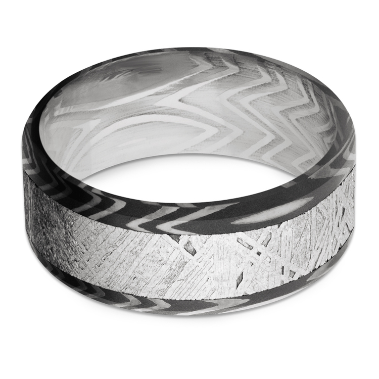 Pulsar - Beveled Zebra Damascus Steel & Meteorite Mens Band | 03