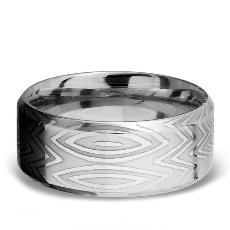 Beveled Zebra Men's Wedding Ring in Damascus Steel   03