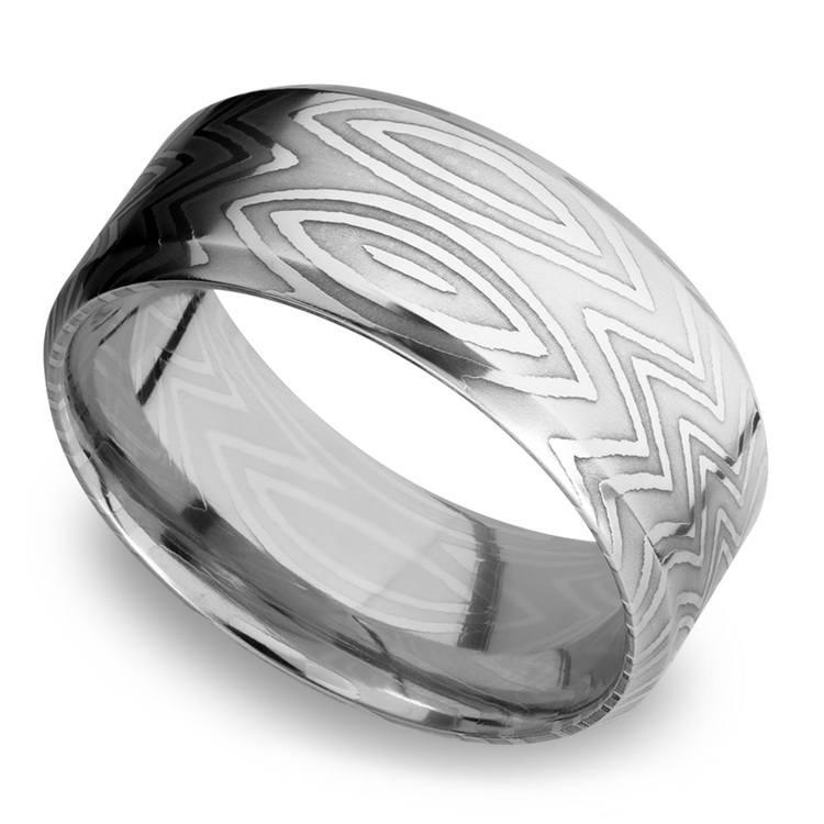 Beveled Zebra Men's Wedding Ring in Damascus Steel   01