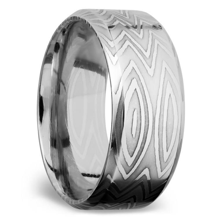 Beveled Zebra Men's Wedding Ring in Damascus Steel   02
