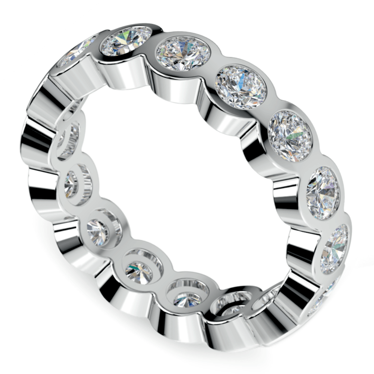 Bezel Diamond Eternity Ring in White Gold (2 ctw) | 01