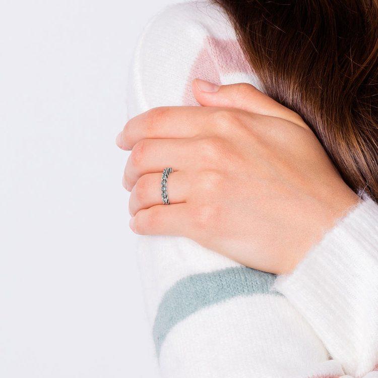 Bezel Diamond Wedding Ring in White Gold  | 07