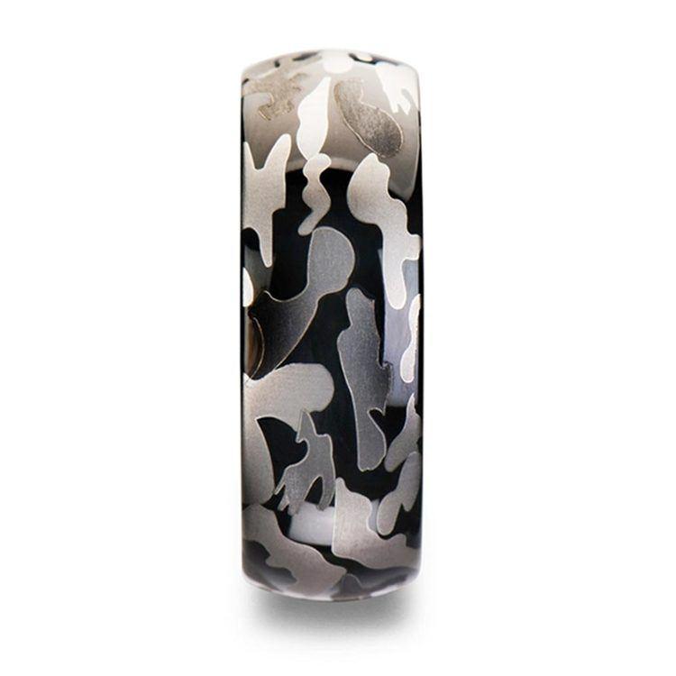 Black & Gray Camo Pattern Men's Wedding Ring in Tungsten | 03