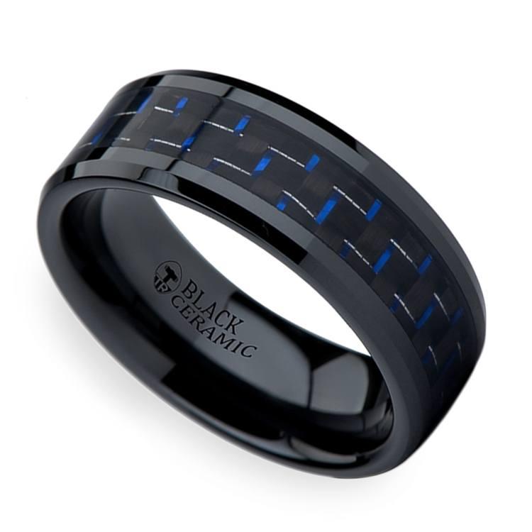 Black Ceramic Men's Ring with Blue & Black Carbon Fiber Inlay (8mm)  | 01