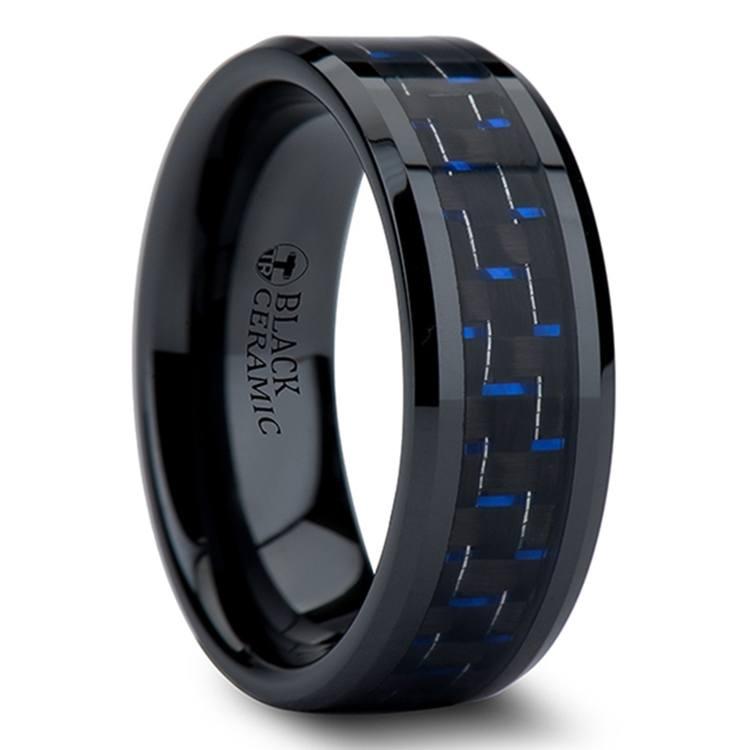 Black Ceramic Men's Ring with Blue & Black Carbon Fiber Inlay (8mm)  | 02