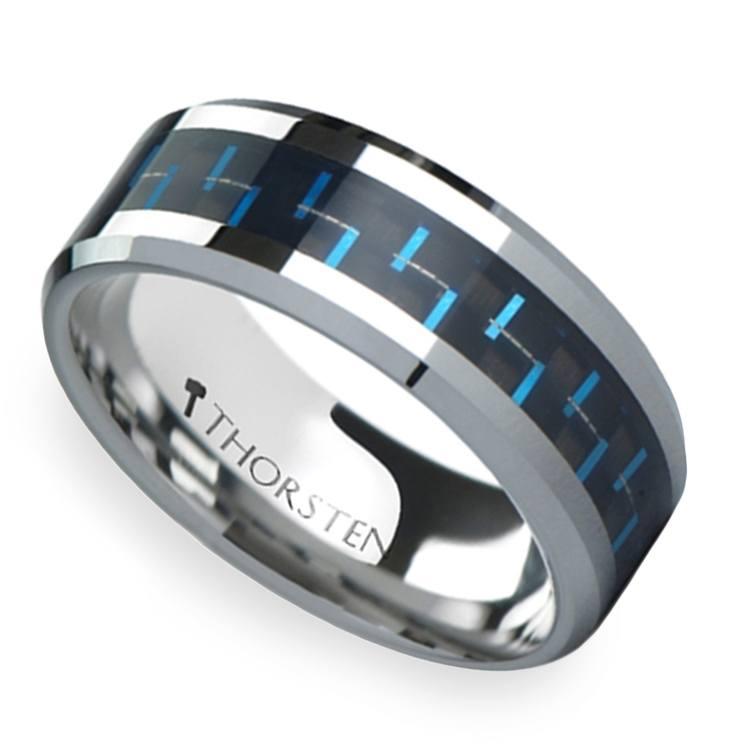 Black & Blue Carbon Fiber Inlay Tungsten Carbide Men's Ring (8mm) | 01