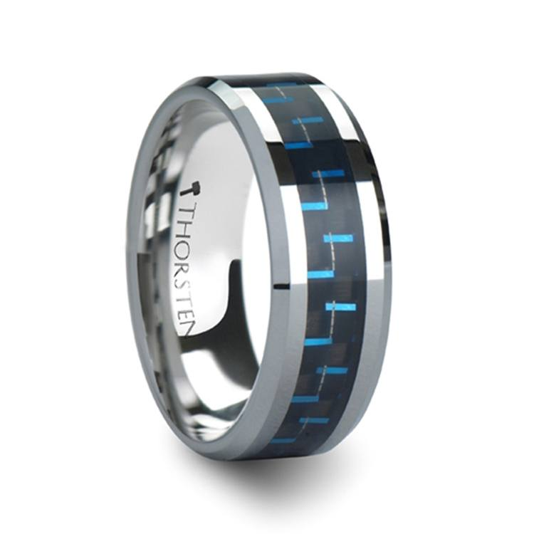 Black & Blue Carbon Fiber Inlay Tungsten Carbide Men's Ring (8mm) | 02