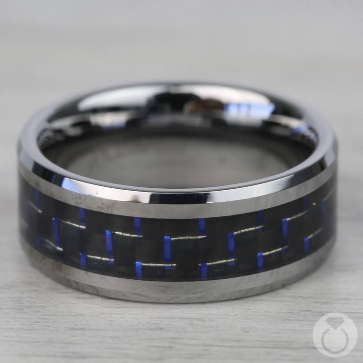 Black & Blue Carbon Fiber Inlay Tungsten Carbide Men's Ring (8mm) | 03