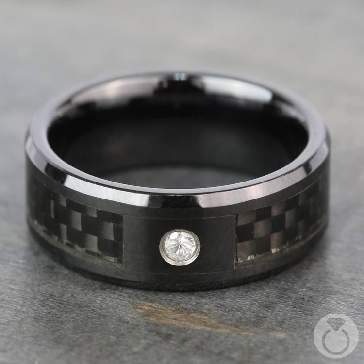 Downshift - Diamond Mens Ring with Black Carbon Fiber Inlay | 03