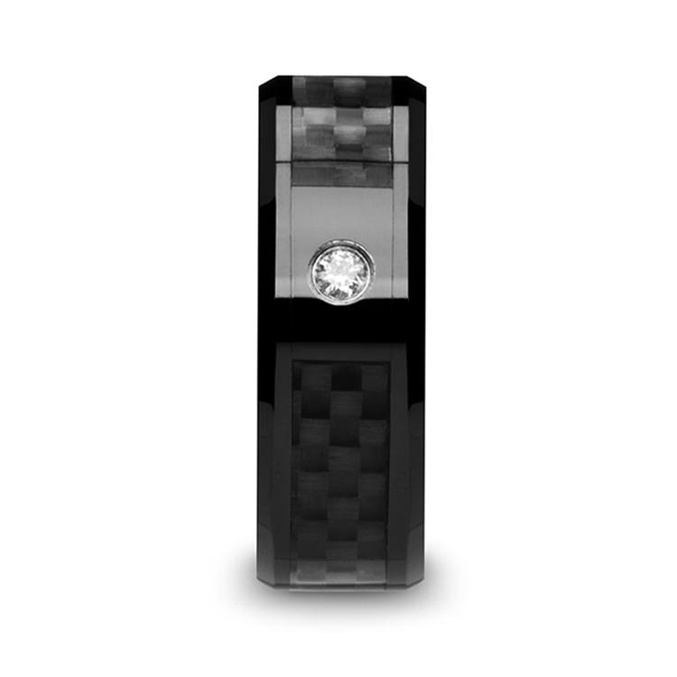 Downshift - Diamond Mens Ring with Black Carbon Fiber Inlay | 02