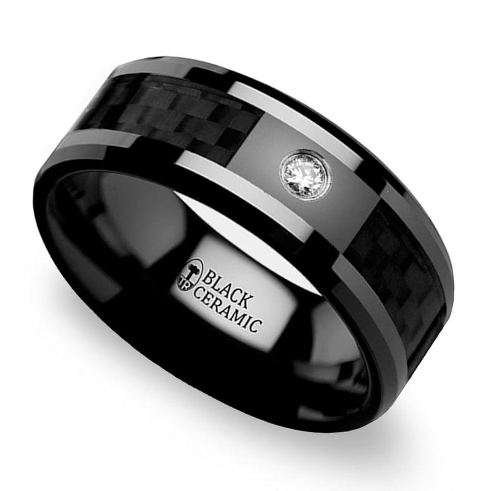Black Carbon Fiber Inlay Men's Diamond Wedding Ring In Ceramic