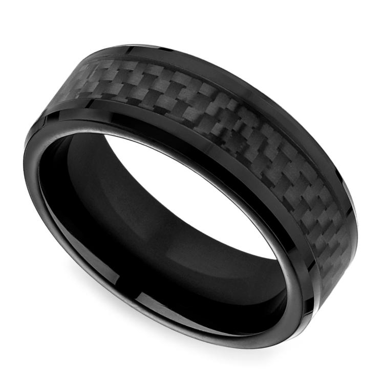 Black Carbon Fiber Men's Wedding Ring in Cobalt | 01