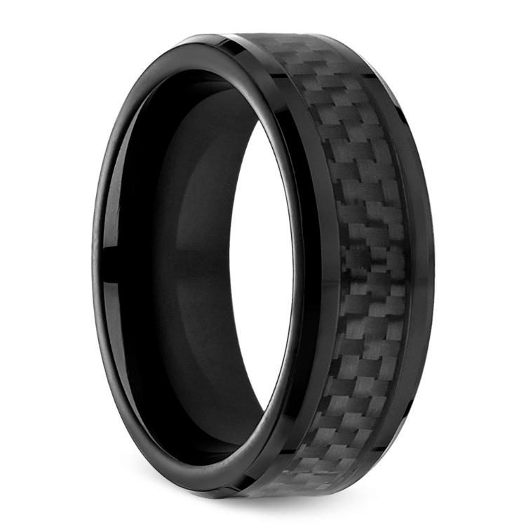 Black Carbon Fiber Men's Wedding Ring in Cobalt | 02
