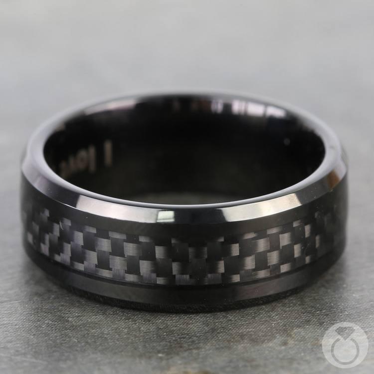 Black Carbon Fiber Men's Wedding Ring in Cobalt | 03